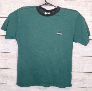 Vintage Adidas Striped Green Shirt Medium